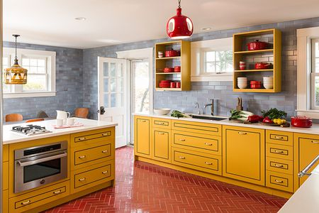 Yellow Red And Gray Kitchen