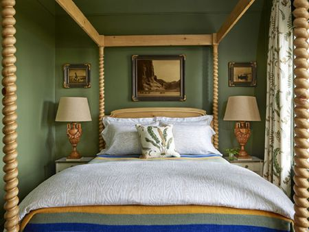 Gorgeous Farmhouse Four Poster Bed In Green Bedroom