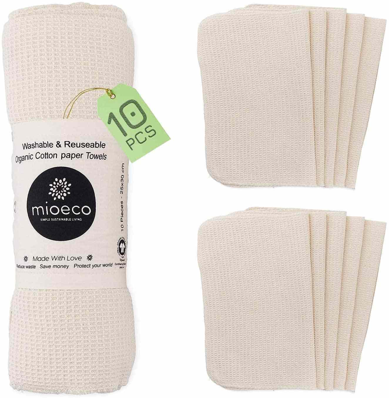 Mioeco Reusable Bamboo Unpaper Towels, Ten Pack