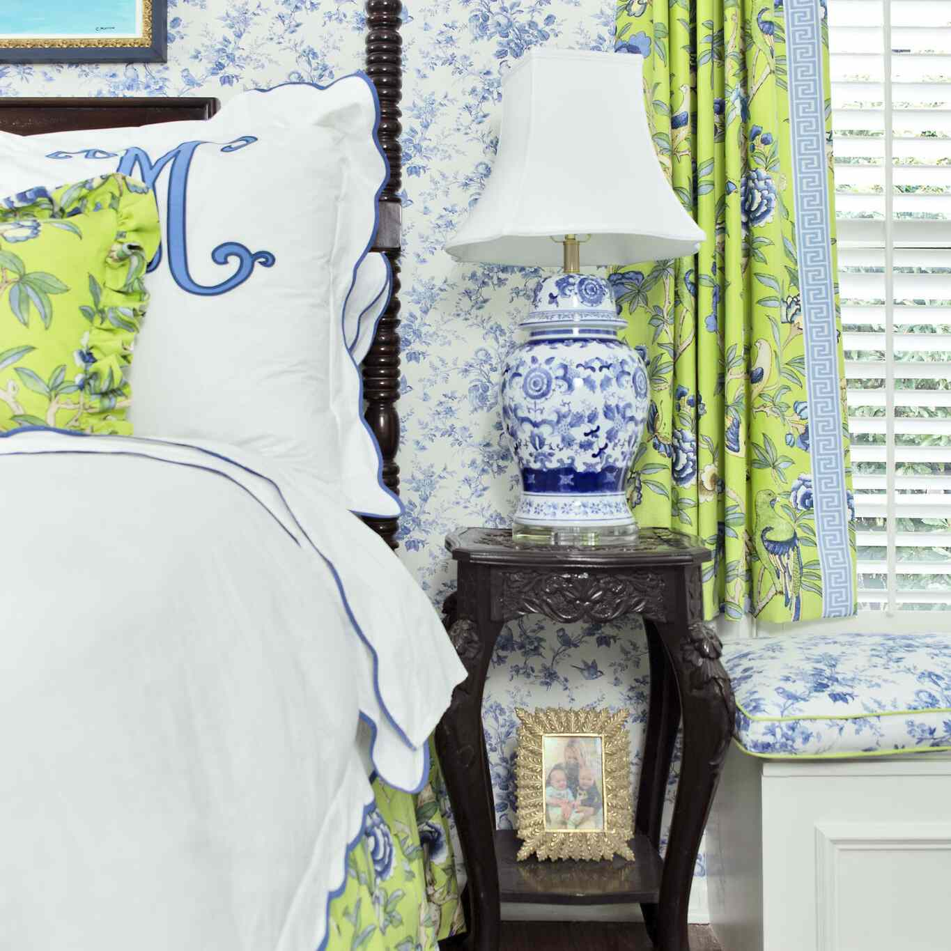 blue and green maximalist bedroom