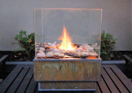DIY Metal and Glass Fire Pit - 10 DIY Backyard Fire Pits
