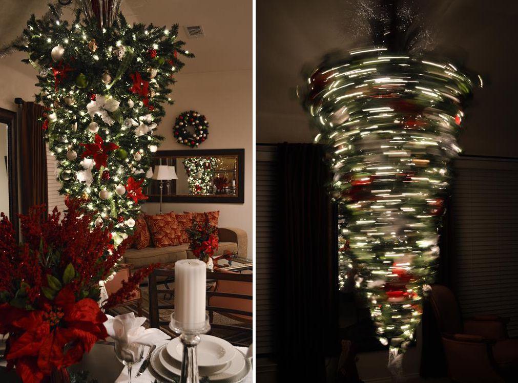Árbol de Navidad al revés giratorio