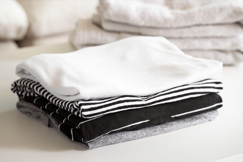 stack of folded laundry