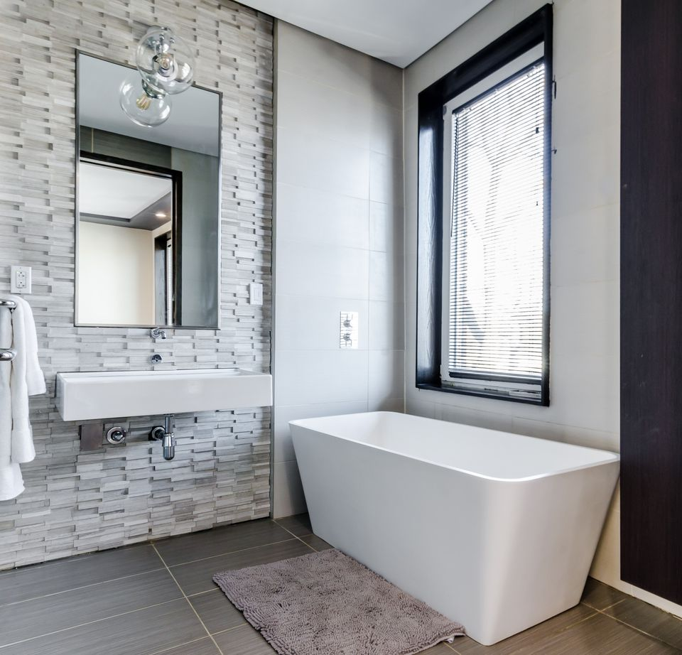 Gray colored bathroom