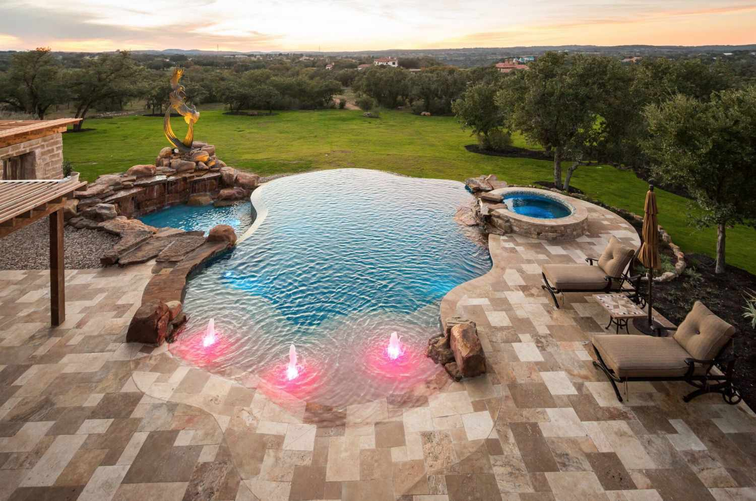 Swimming pool with pink lights