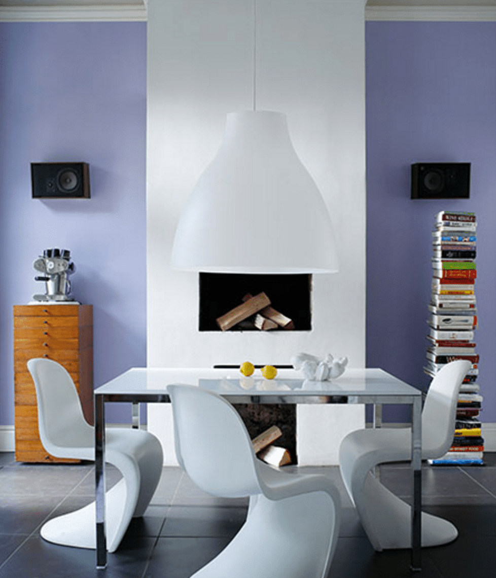 Purple wall in dining room