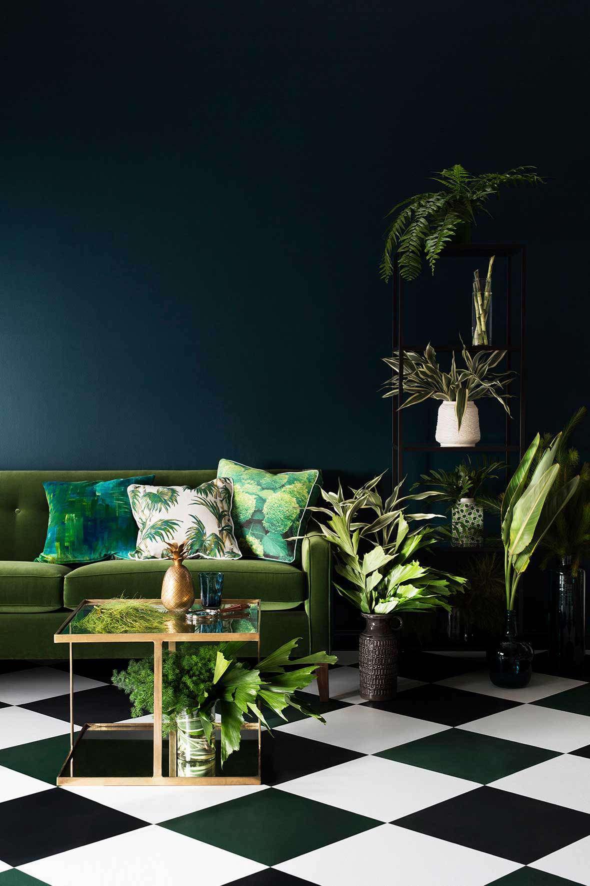 Dark green living space