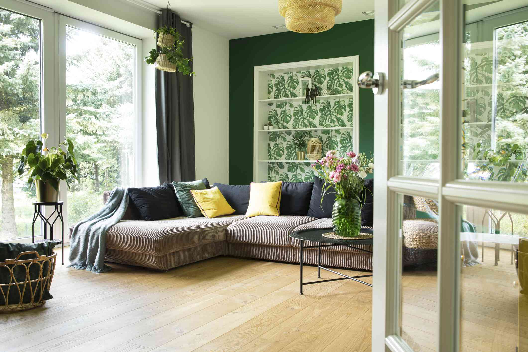green living room with lots of light