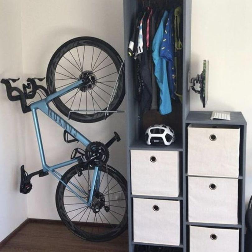 hanging bike shelf with storage shelfs on the side