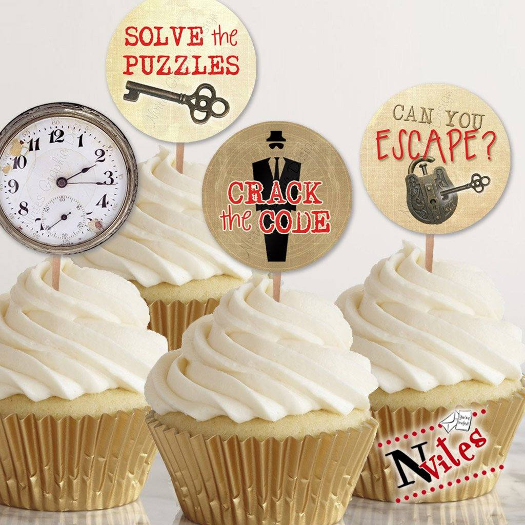 Cupcakes with escape room toppers