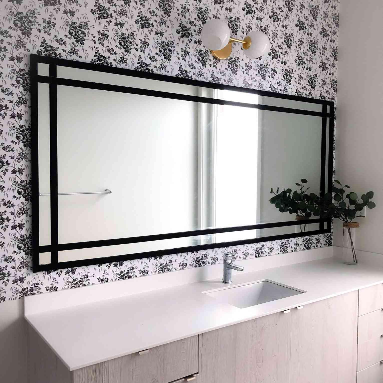 A DIY Industrial Bathroom Mirror Frame