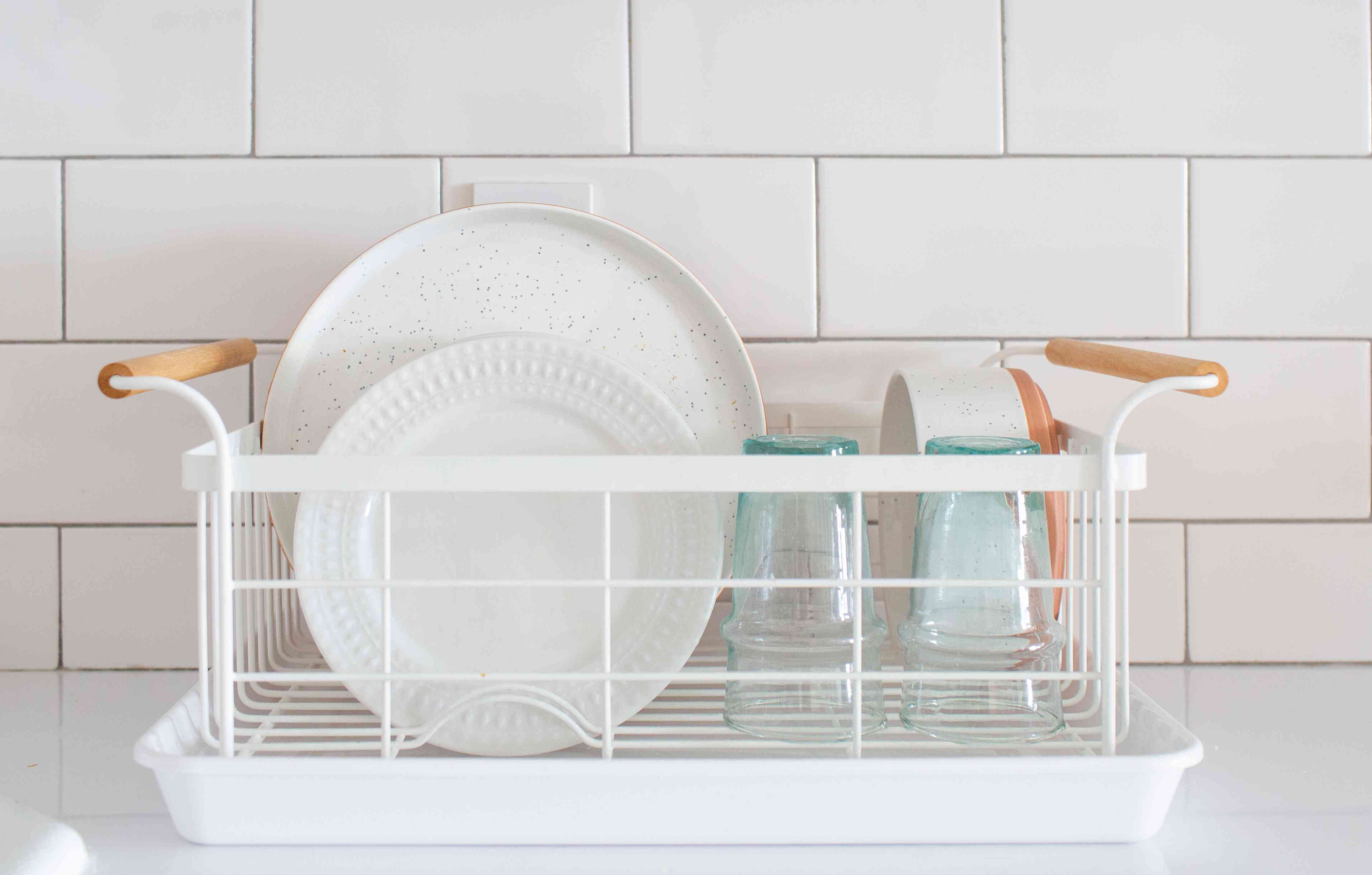dishes drying in a dish rack