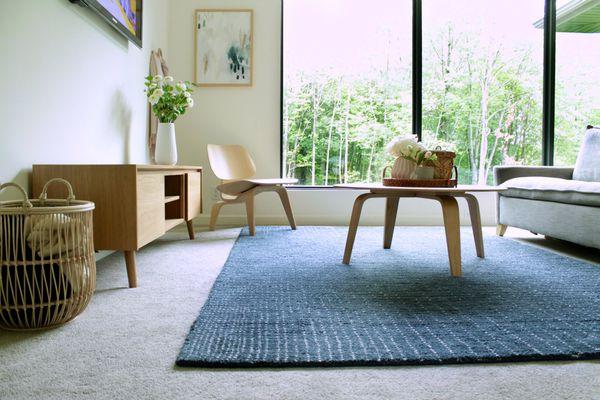 area rug used over a carpet