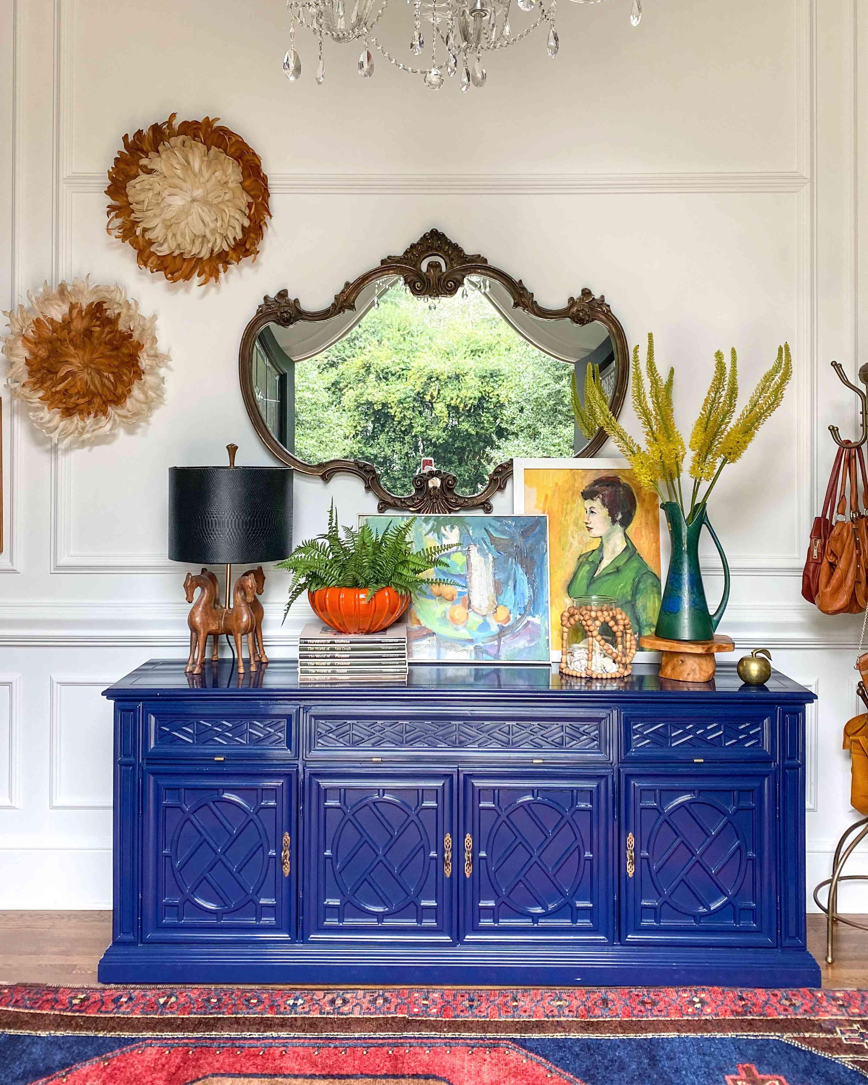 cobalt blue buffet console
