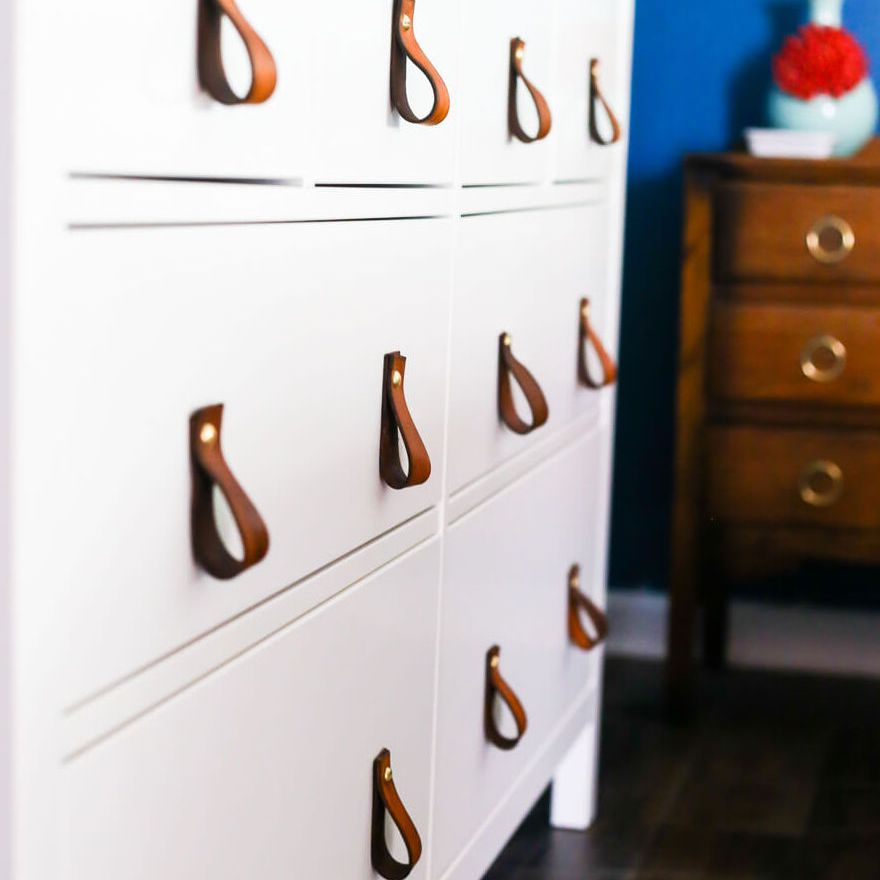 White Drawers With Leather Pulls
