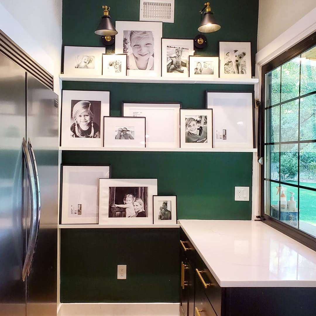 Butler's pantry with green walls