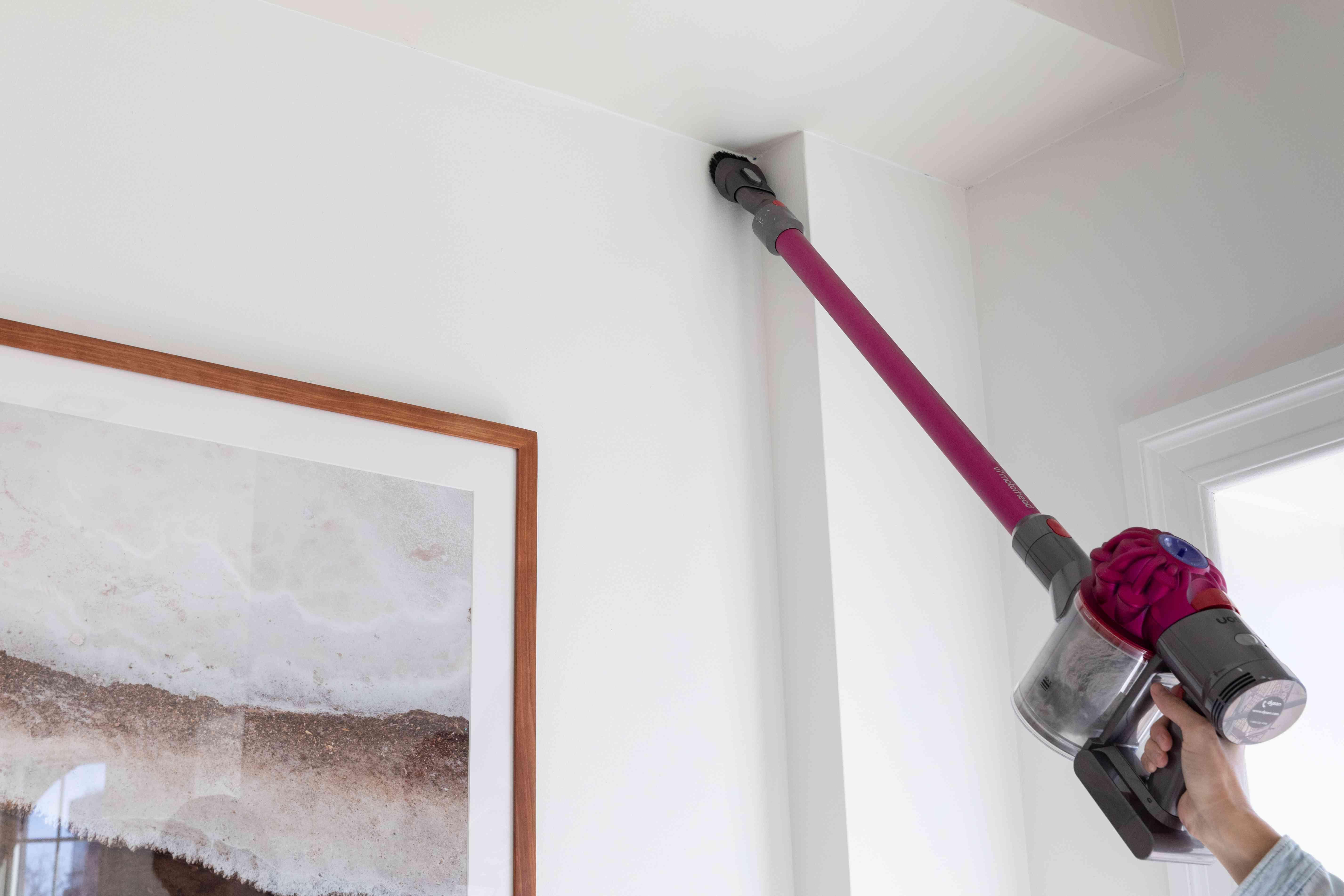 Pink hand-held vacuum cleaning roof corner