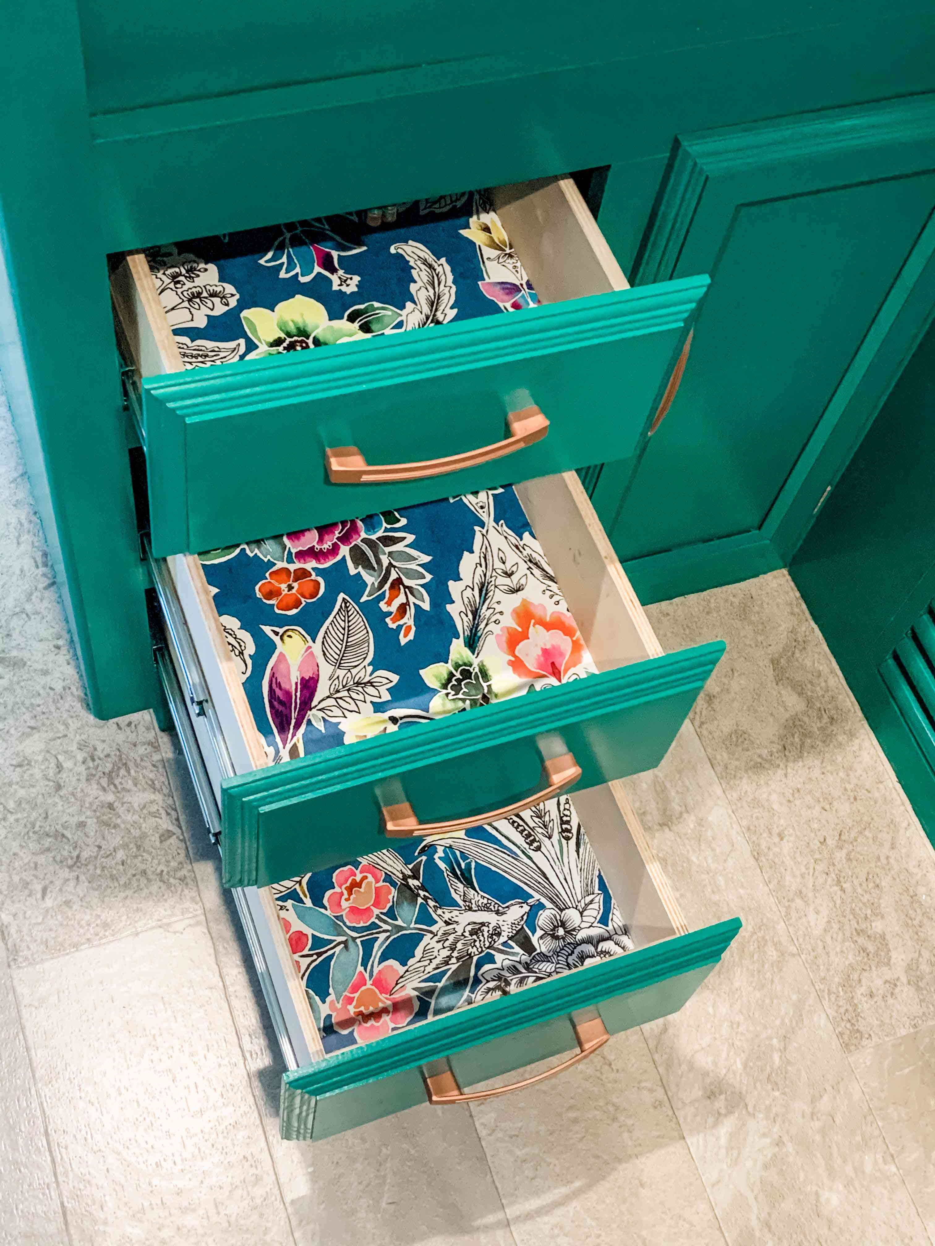 wallpaper lined drawers