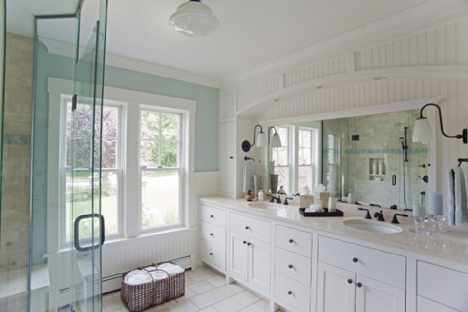 A beadboard bathroom with a white vanity