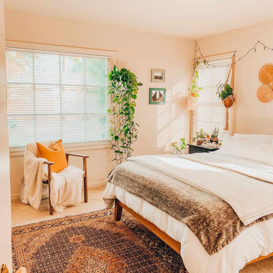 Bedroom with peach walls