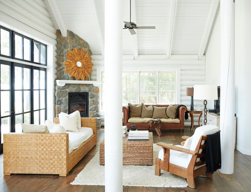 wicker and wood furniture in a cabin