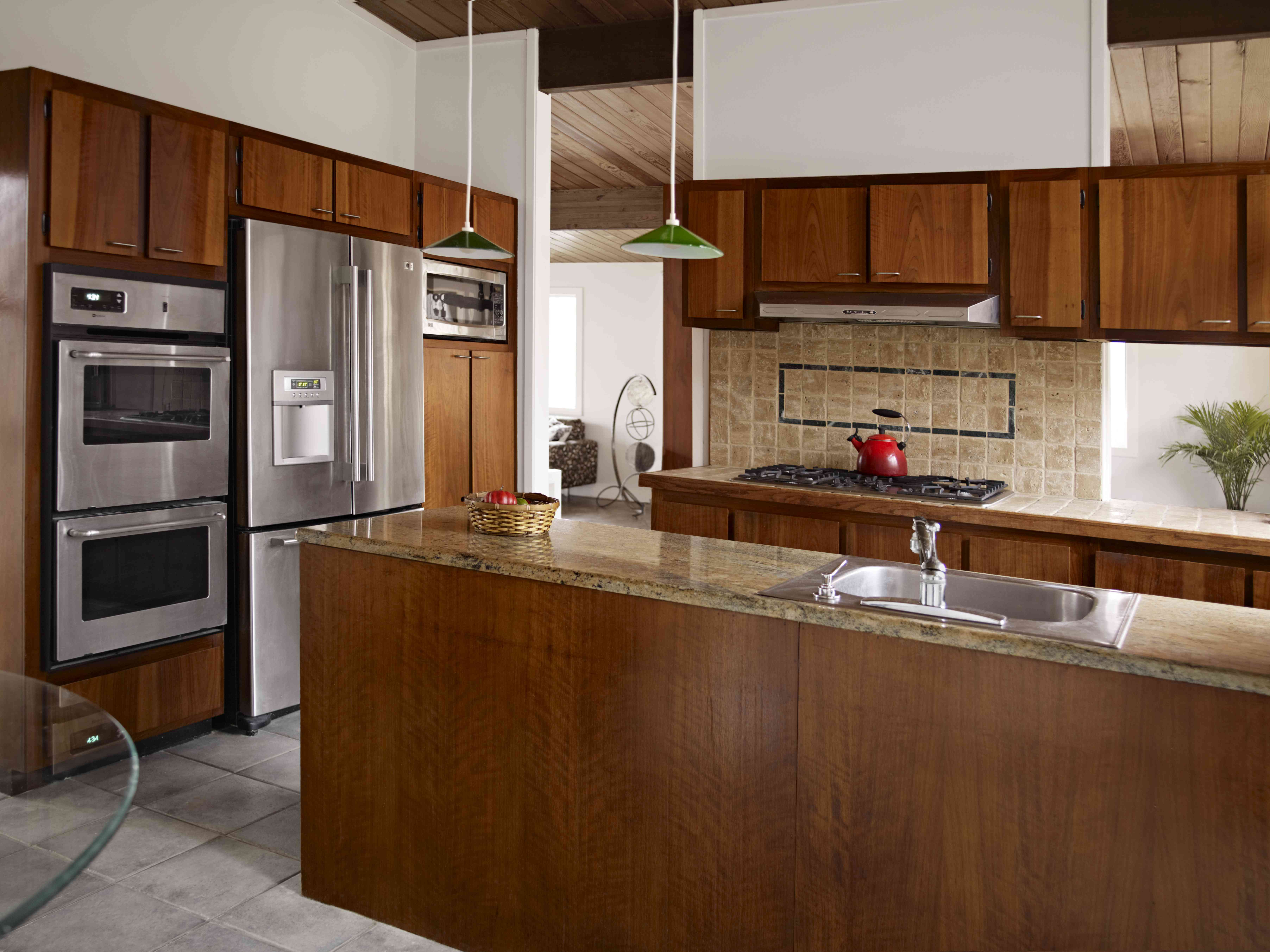 Modern kitchen with wood tone cabinets