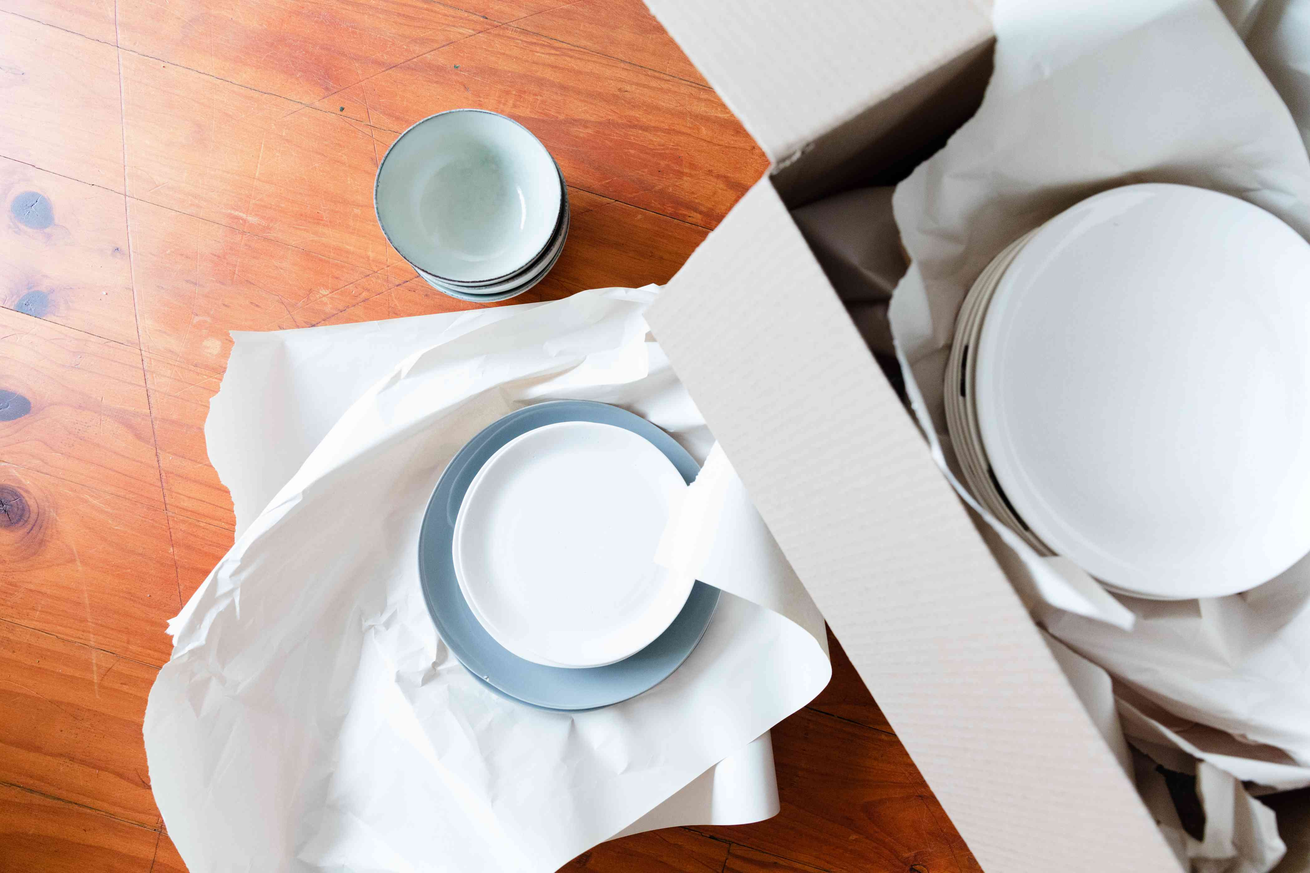 packing up dishes and plates