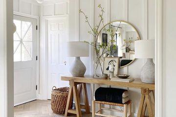 Crisp and clean modern farmhouse-style room