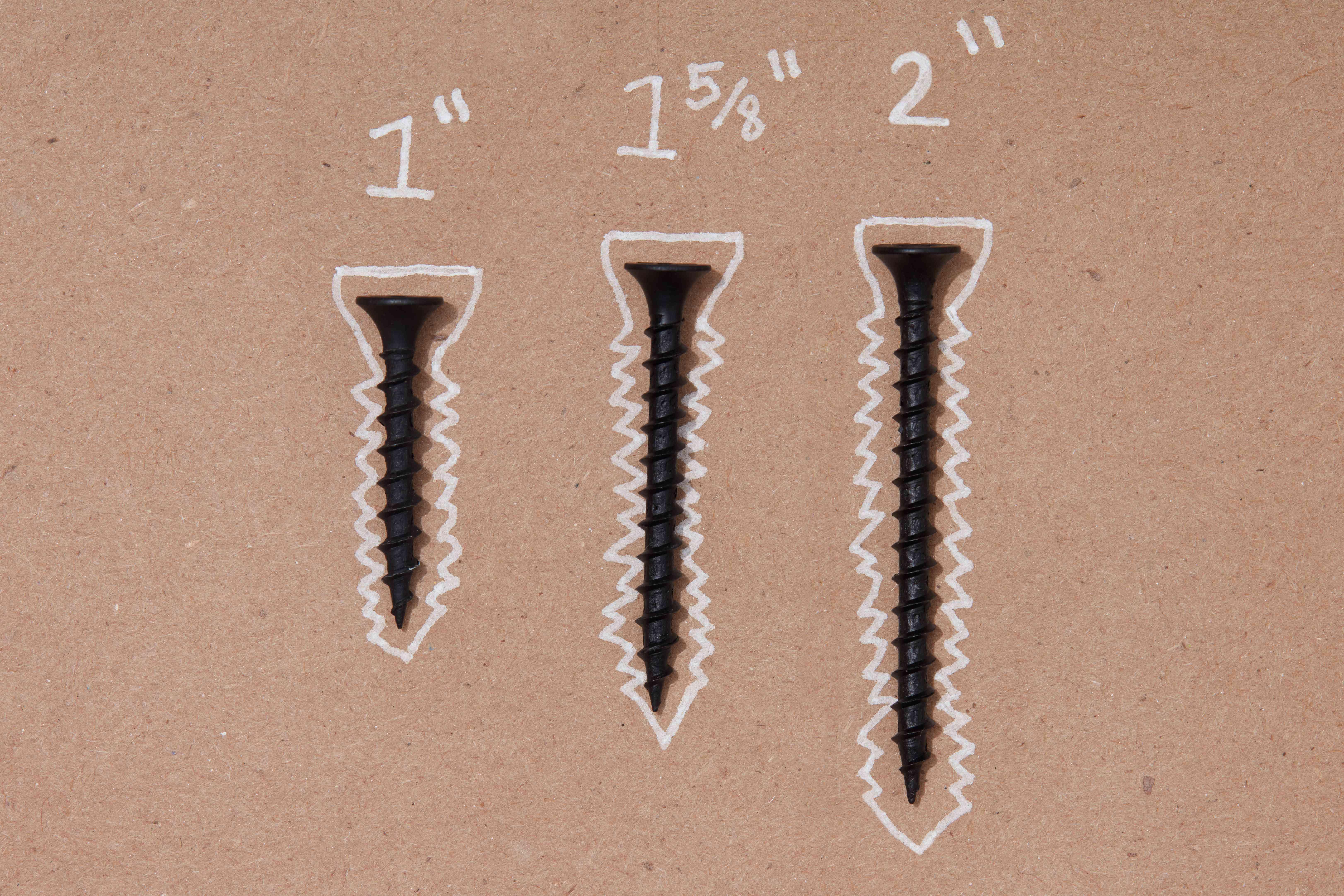 Drywall screw lengths