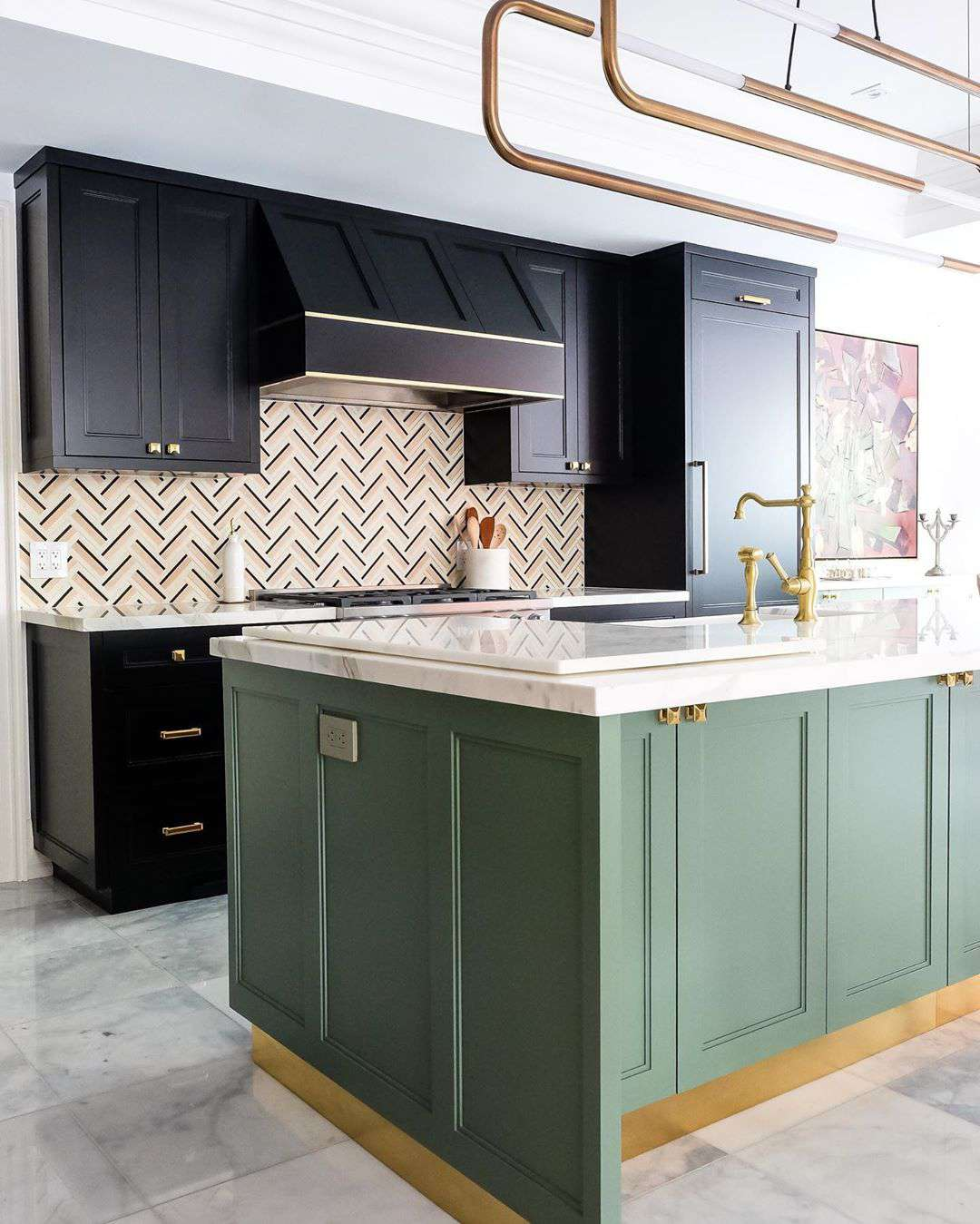 Green and black kitchen