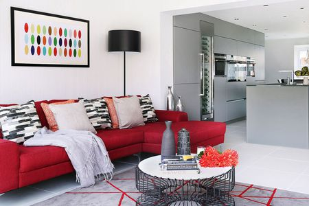 Red Black And Gray Contemporary Living Room