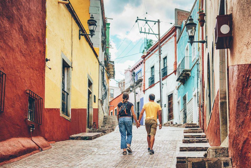 Couple visiting Guanajuato Mexico