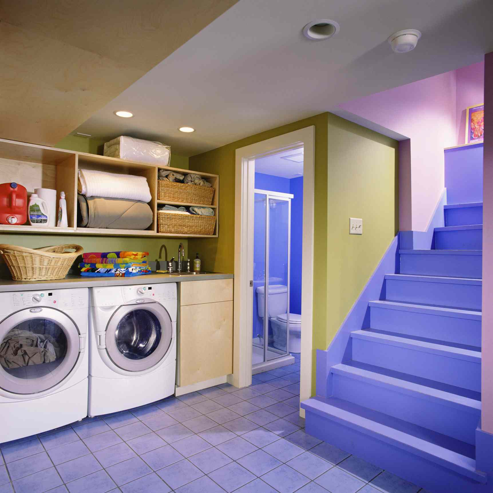 Colorful, Painted Laundry Room