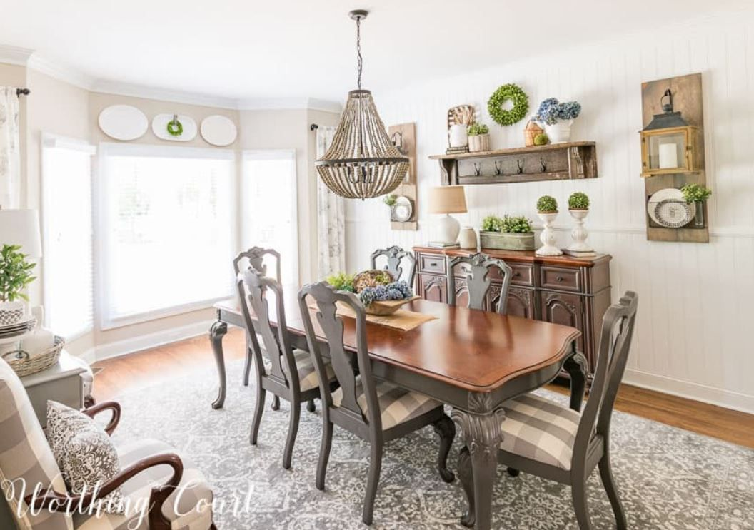 Updated farmhouse dining room.