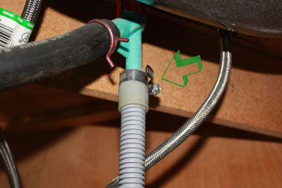 Dishwasher drain line connected to the air gap