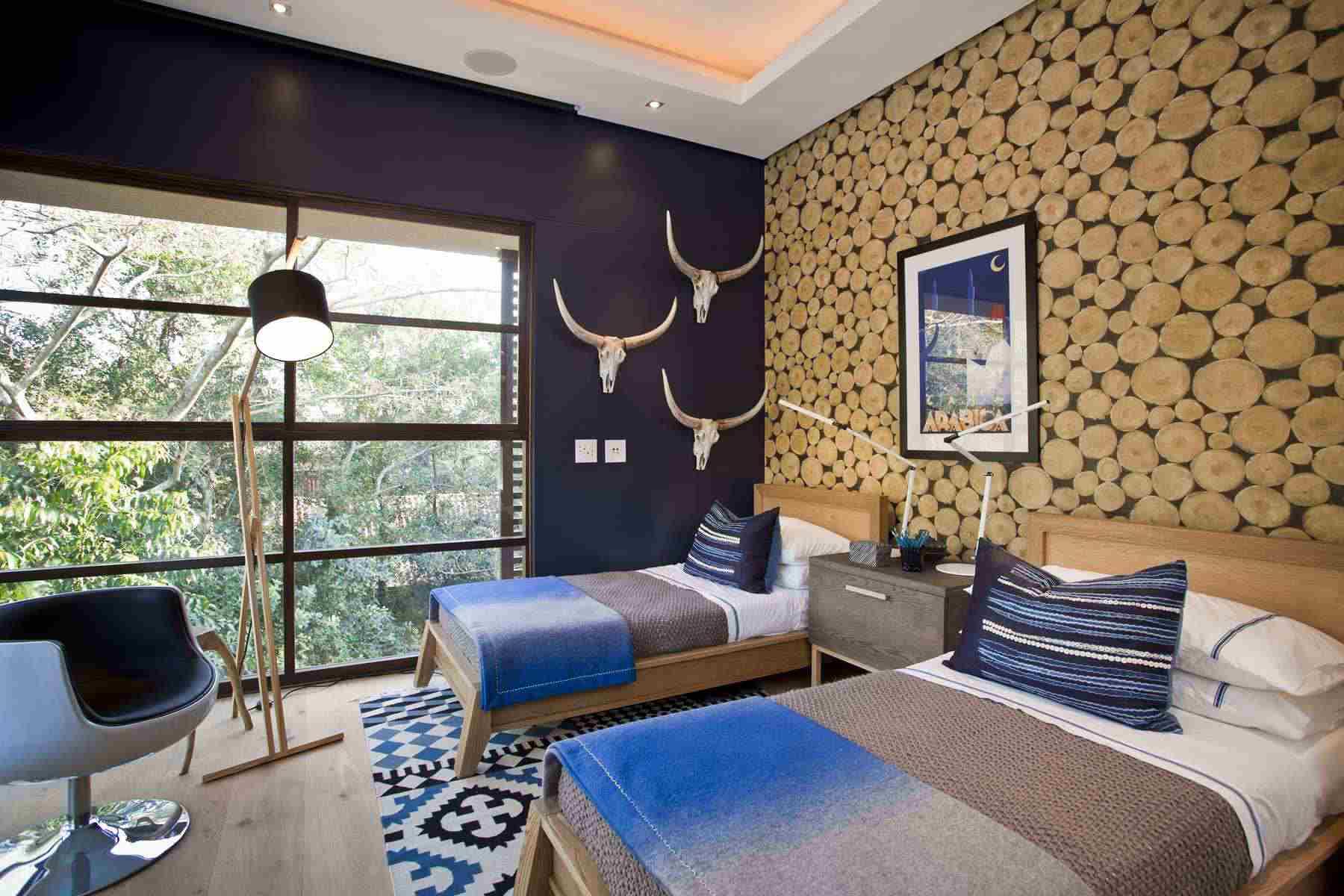 Papel tapiz de registro de imitación Viste una habitación rústica