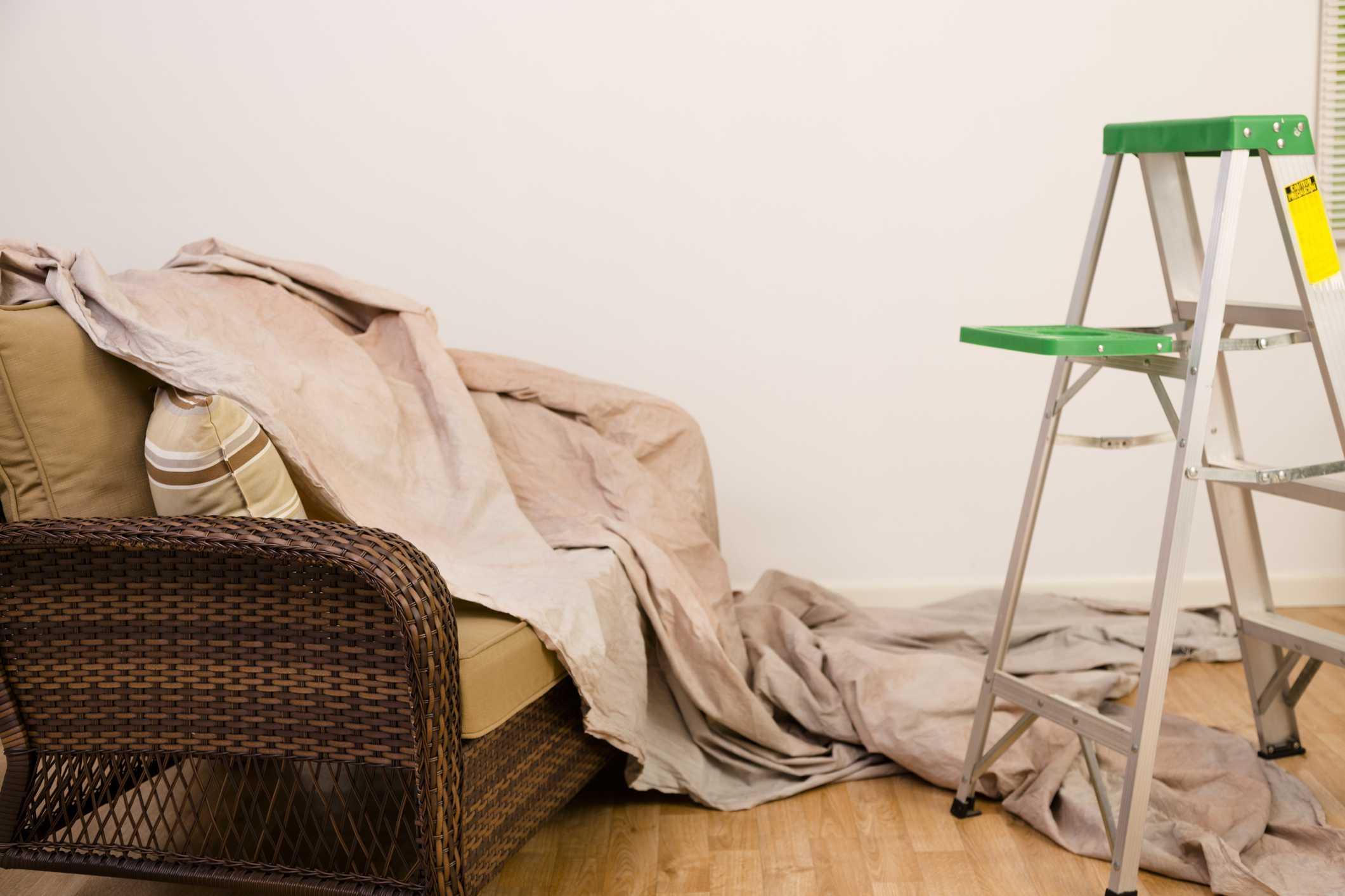 Drop cloth over furniture