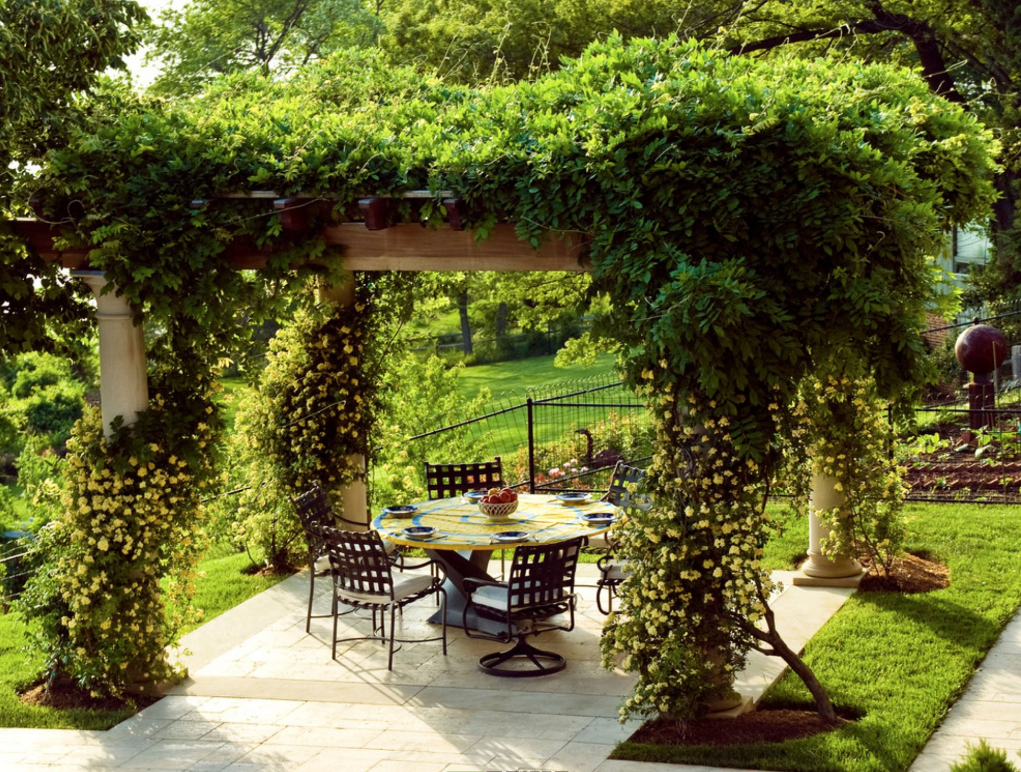 covered patio with greenery for roof