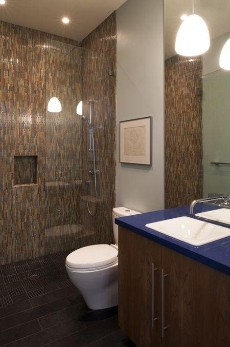Colorful Mosaic Tile Walk In Shower Without Door