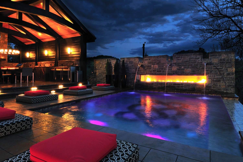 beautiful pool at night