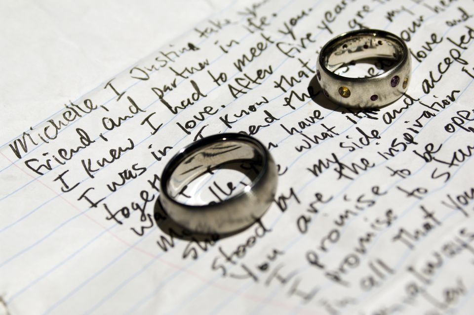 Wedding rings on written vows.