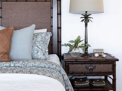 Bedroom with British colonial decor