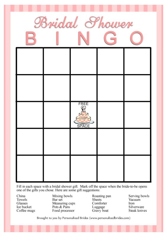 11 free printable bridal showers bingo cards