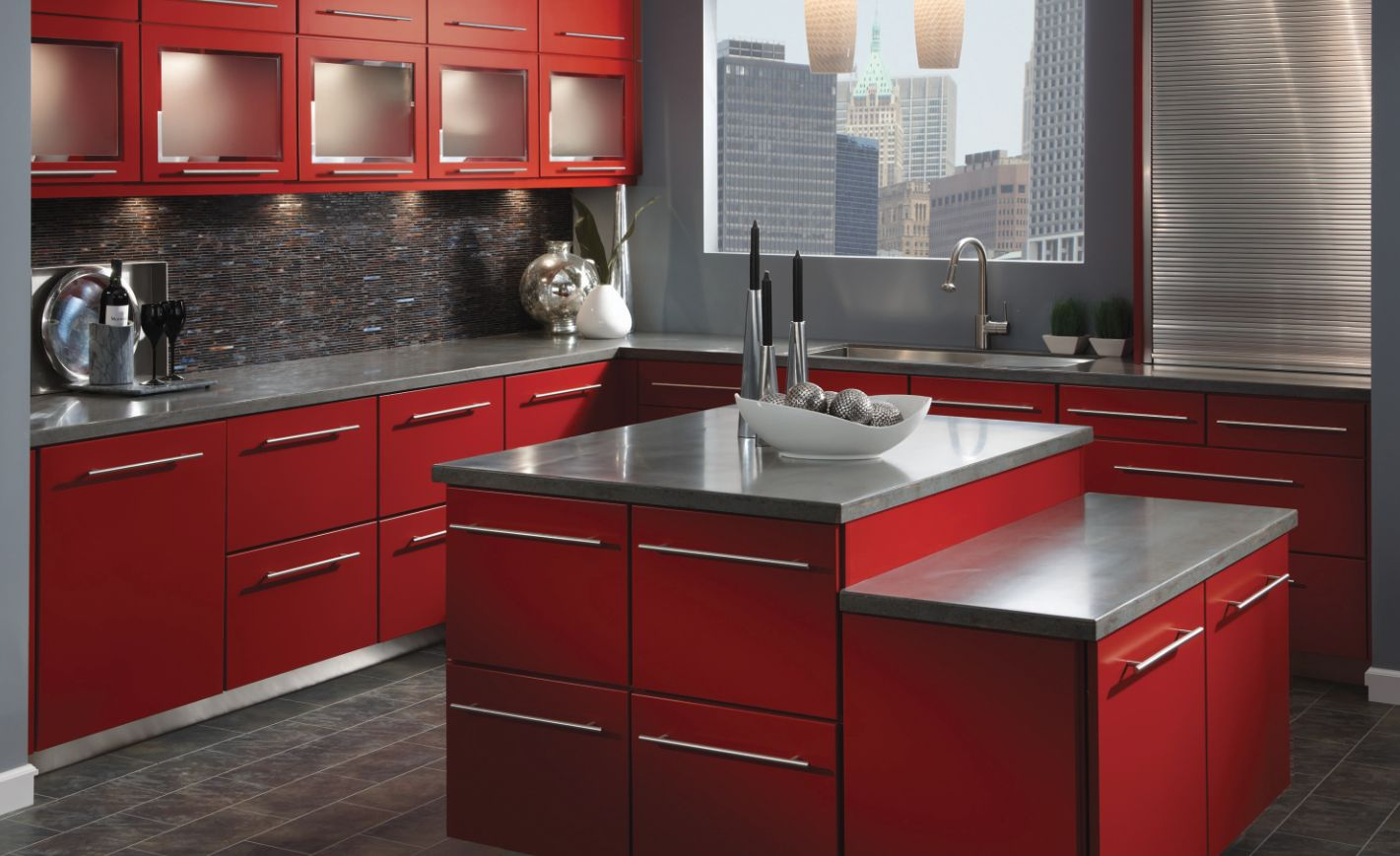 Awesome Slab Panel Kitchen Cabinets