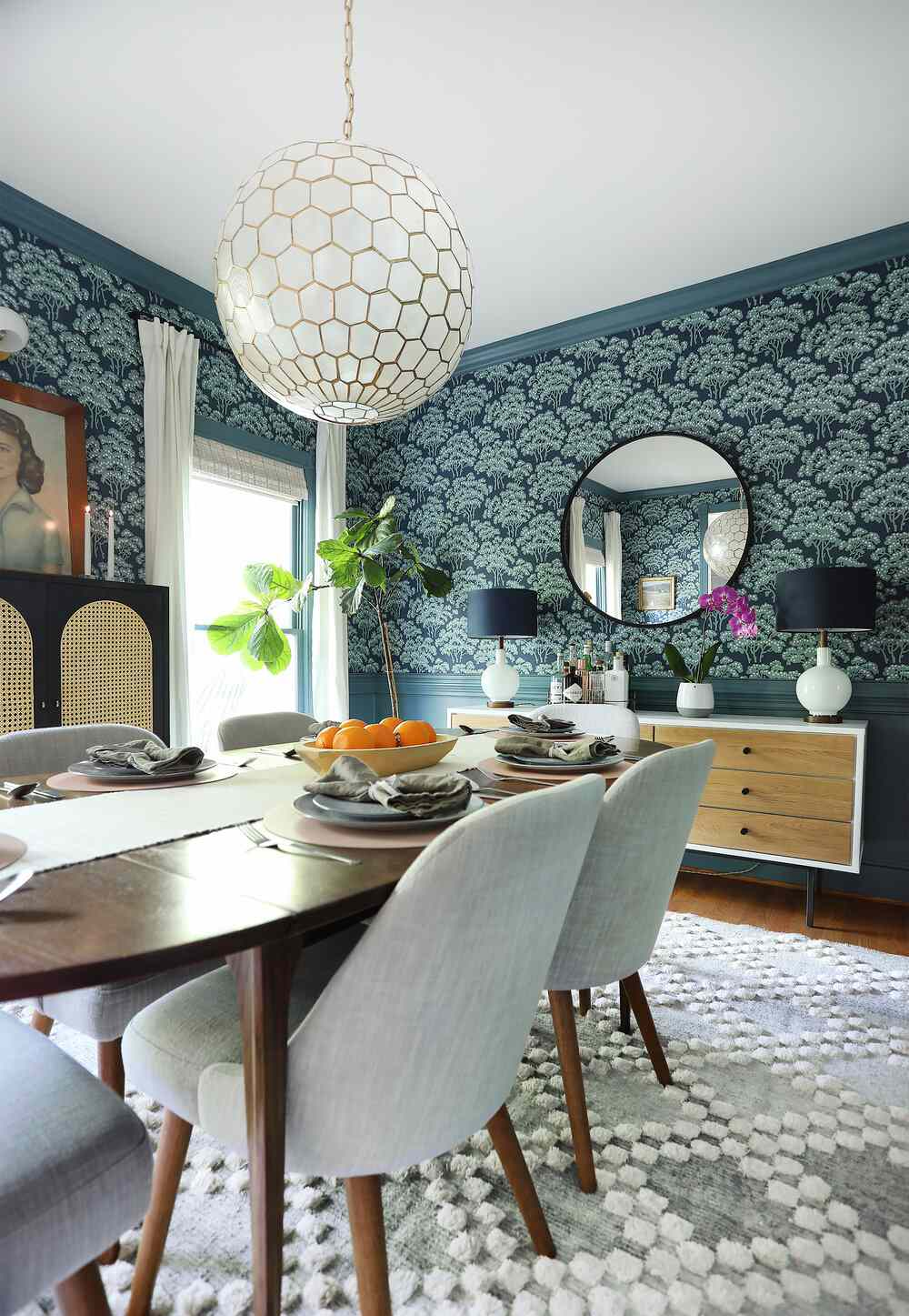 colorful dining room with pattern