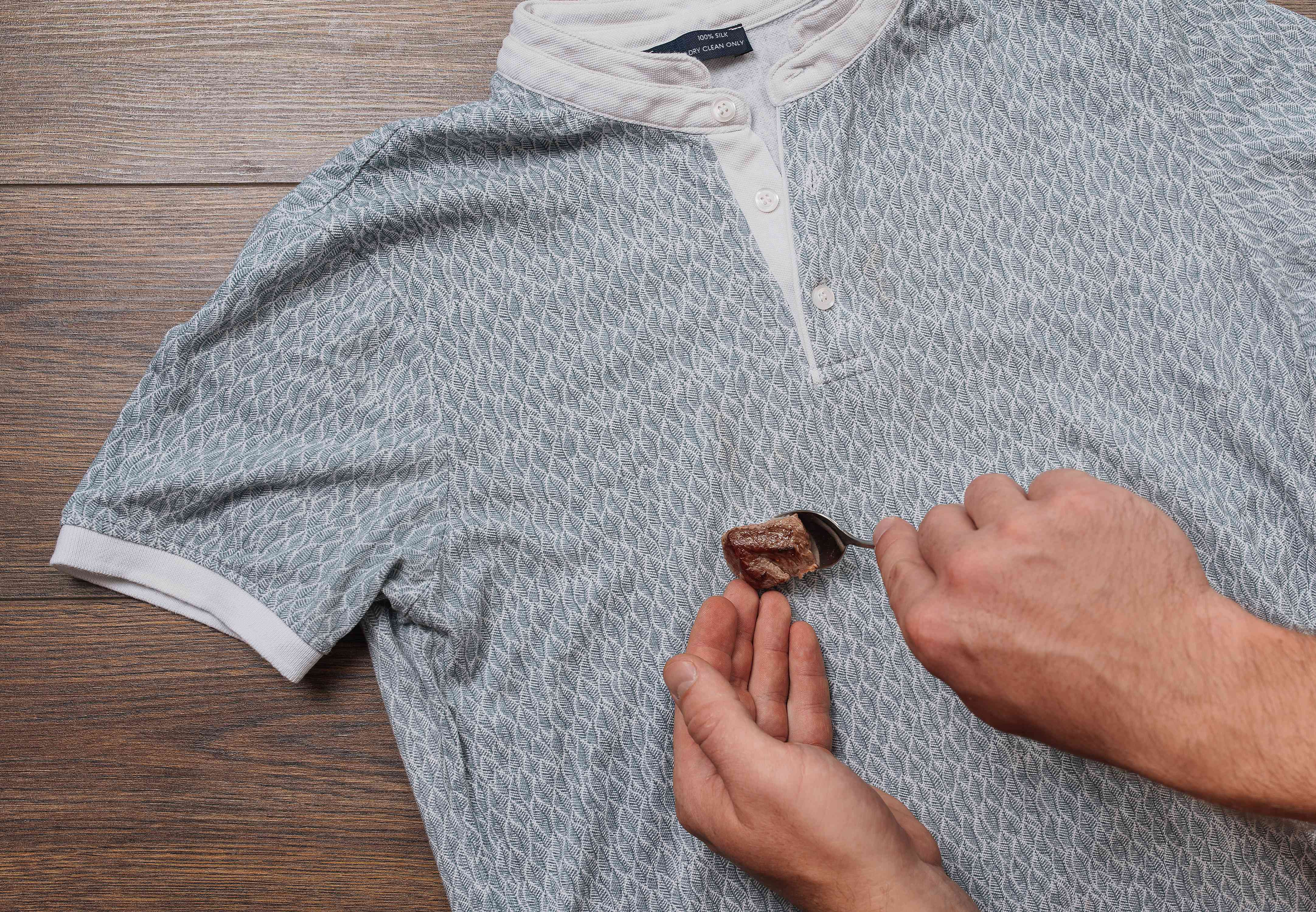 lifting a solid off of a dry clean only shirt
