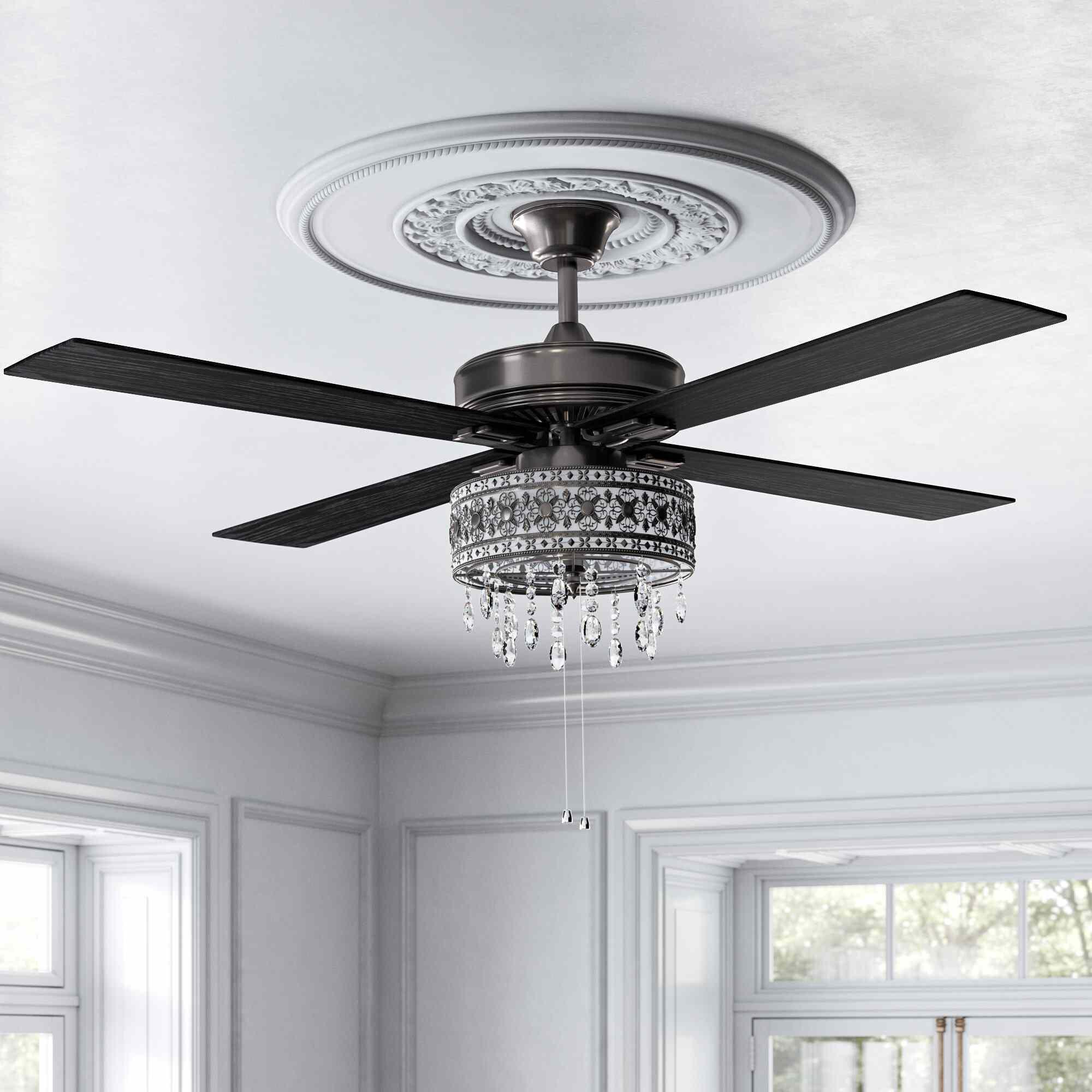 Kelly Clarkson Home Leonie 5 - Blade LED Crystal Ceiling Fan