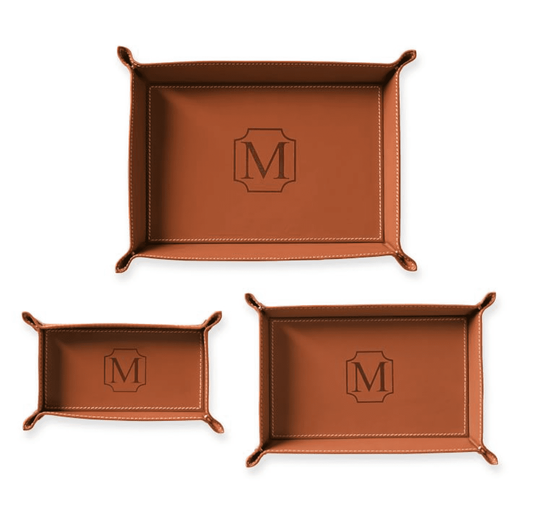 Rustic Leather Catchall Tray