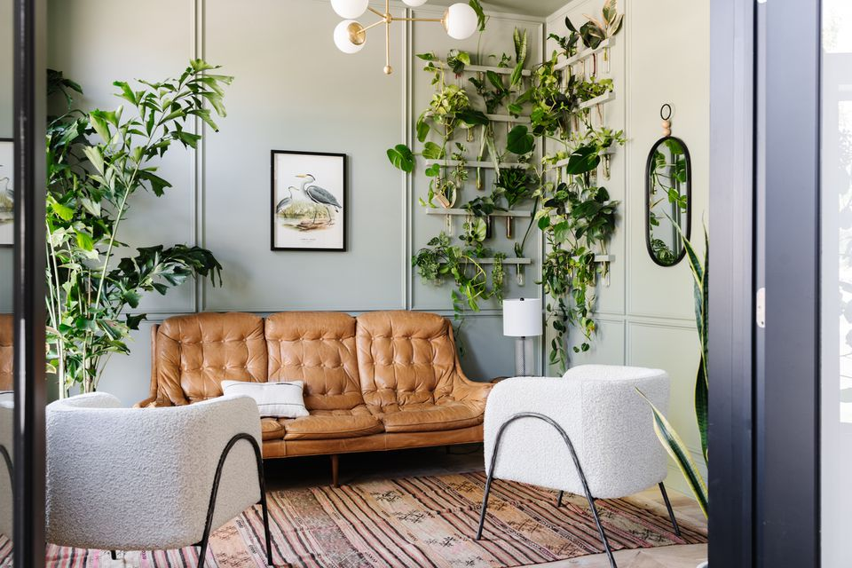 Sherwin-Williams Color of the Year 2022 Evergreen Fog in plant room