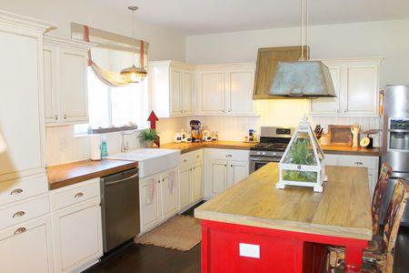 white kitchen red island farmhouse style - Farmhouse Kitchen Cabinets